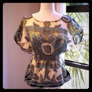 Peplum blouse in Mediterranean colors, like new